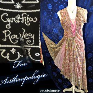 Cynthia Rowley Pink Paisley Silk Chiffon Dress